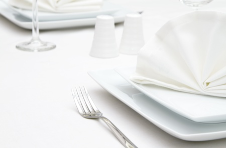 dinner plate: Place settings with white plates Stock Photo