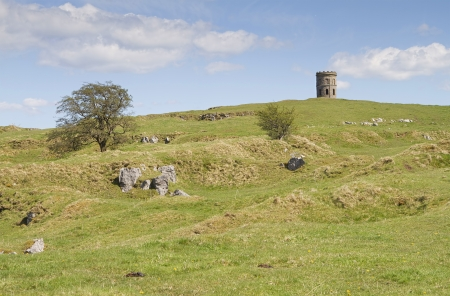 Rocky hills with Solomons Temple or Grinlow Tower in Buxton, Derbyshire Peak District  photo