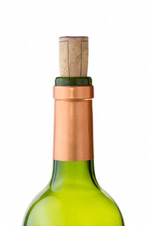 Green wine bottle with cork on white