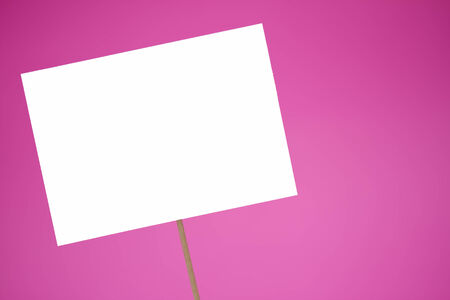Blank white sign on a pink background Stock Photo