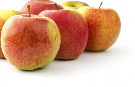 Several ripe braeburn apples Stock Photo