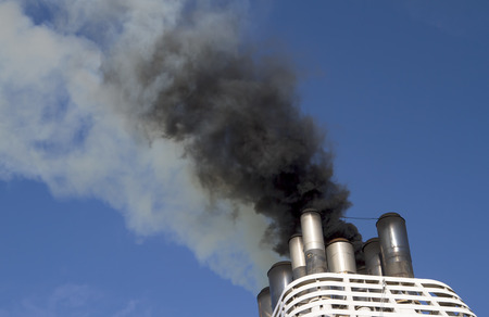Ships funnel emitting black smoke Stock Photo