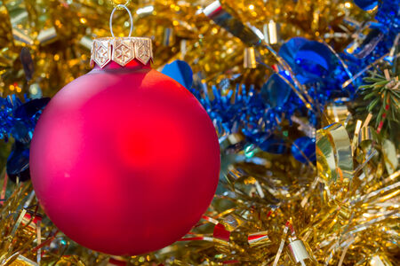 tinsel: Christmas red bauble with tinsel