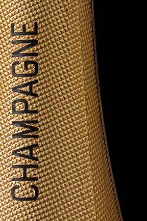 Close-up top van een champagnefles Stockfoto