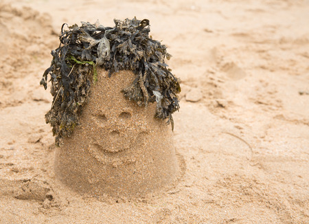 sandcastle: Sandcastle with seaweed making a smiley face