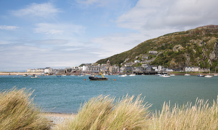 dinghies: View of Barmouth harbour and town