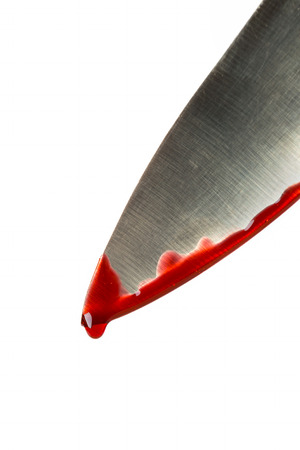 cut and blood: Kitchen knife dripping blood on white