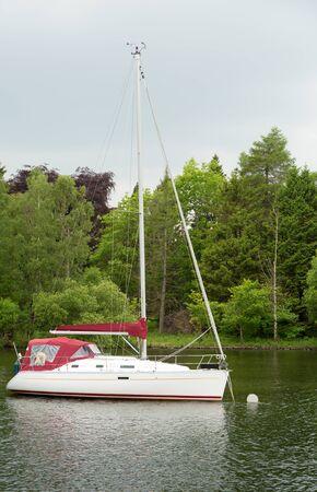 Yacht moored on Lake Windermere, Cumbria