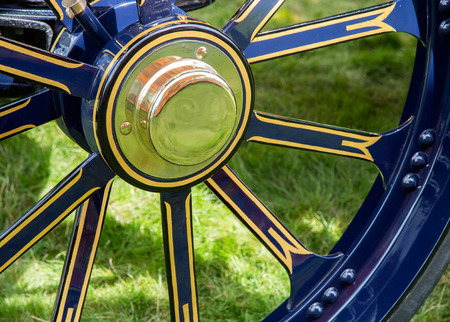 traction: Close up detail of traction engine wheel