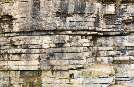 Rock layers in cliffs at Benllech, Anglesey North Wales Stock Photo