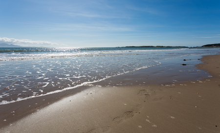 Sandy beach at Newborough in Anglesey, North Wales Stock Photo