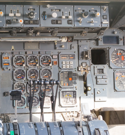 altimeter: Aircraft cockpit dials and switches Stock Photo