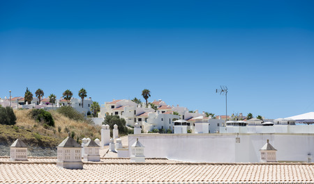 townhouses: Roofline view of typical Portuguese townhouses and apartments