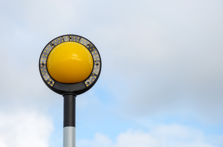 Belisha beacon light at pedestrian crossing Stock fotó