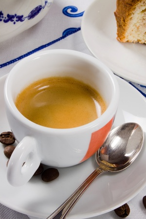 The italian espresso coffee for the traditional italian breakfast photo