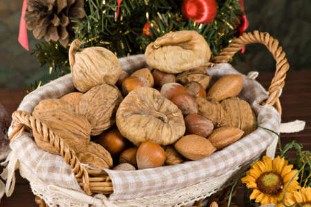 Nuts and dried figs photo