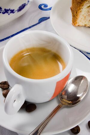 An hot espresso coffee for the traditional italian breakfast