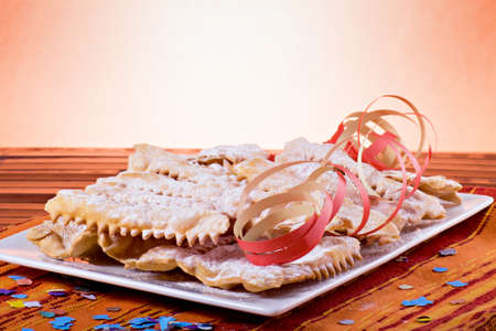 sugar veil: Chiacchiere- Traditional italian carnival pastry