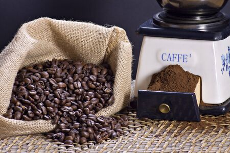 Coffee grinder and roasted coffee beans