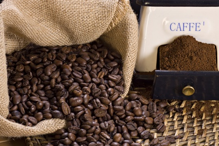 Coffee grinder and roasted coffee beans  Stock Photo - 12734167