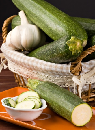 Zucchini  Cucurbita pepo  and Garlic  Allium sativum
