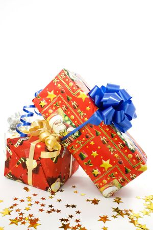 important event: Gift box with a blue ribbon, a present for an important event Stock Photo