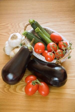 Zucchini, Aubergines, Garlic and tomatoes