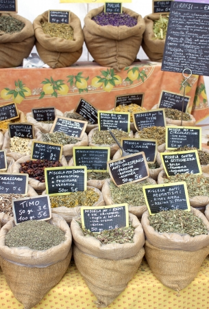 Bags with medicinal herbs photo