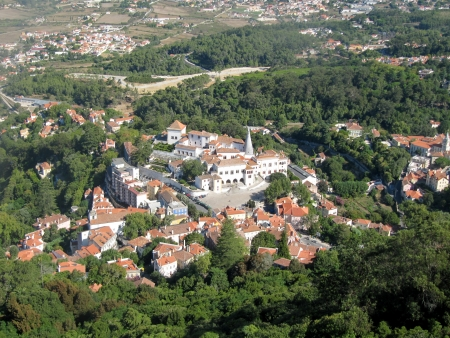 Aerial view of the Palacio grave Nacional de Sintra  Portugal