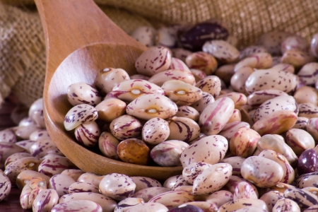 Borlotti beans in a wooden spoon and bag
