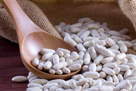 White beans - Cannellini  legumes  in a wooden spoon and bag