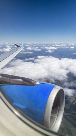 Panorama from inside airplane