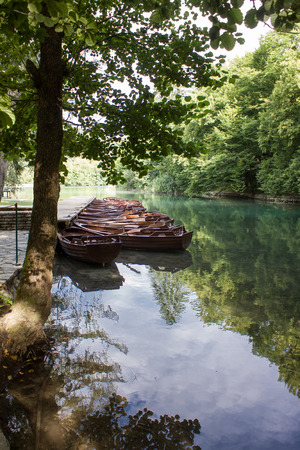 Boats standing at the dock at the lake - Plitvice (Croatia) Stock Photo