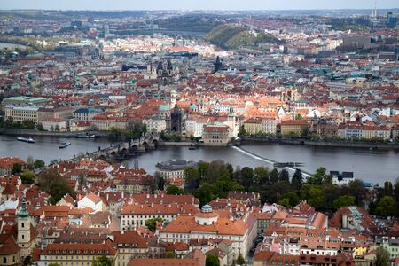 Aerial view of Prague, from the  look-out tower on the hill.