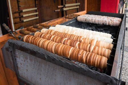 Trdelnik or Trdlo, a typical pastry from Prague. A very tasty local sweet product.