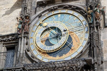 old town square: The astronomical clock on the tower of the City Hall, in the old town square in Prague. Stock Photo