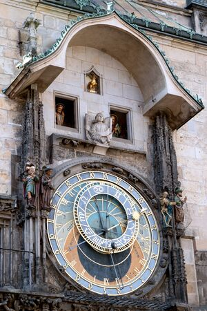The astronomical clock on the tower of the City Hall, in the old town square in Prague. Stock Photo
