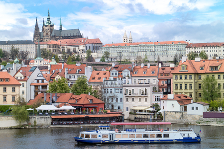 castle district: View of the district of the castle in Prague, from the Charles IV bridge.