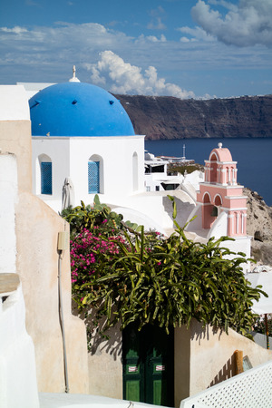 Panorama of Oia village in Santorini (Greece) Stock Photo