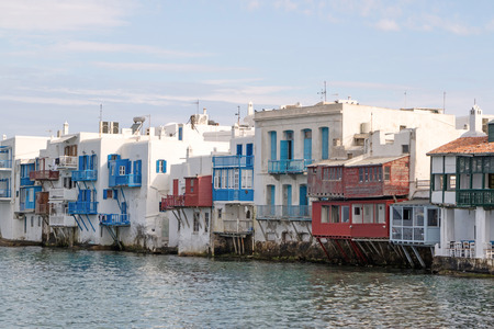 the little venice: View of th so called Little Venice in Mykonos (Greece) Stock Photo