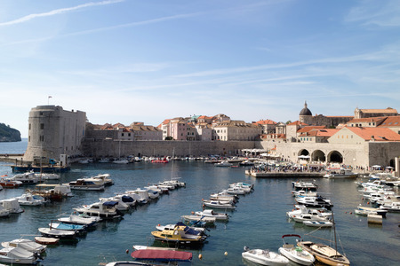 Panorama or the port of the old city of Dubrovnik (Croatia)