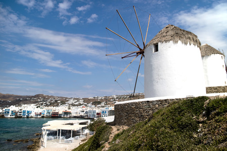 Panorama of Mykonos and windmills typical (Greece)