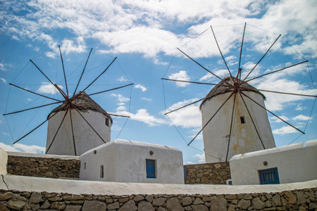 myconos: Local typical windmill structures in Mykonos (Greece) Stock Photo