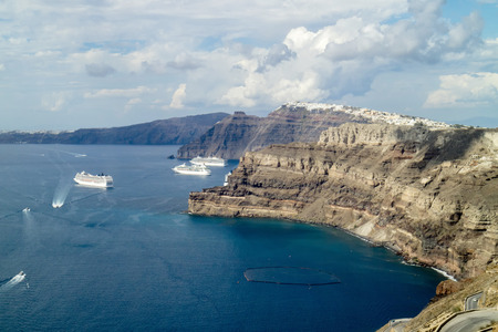 Panorama of the bay of Santorini (Greece)