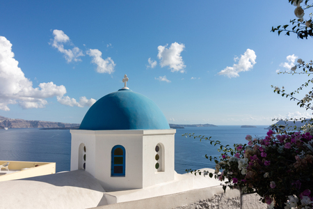Typical blue dome of the churches in Santorini (Greeze)