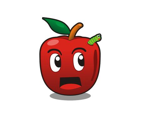 cute apple cartoon green caterpillar worm mascot design idea illustration concept