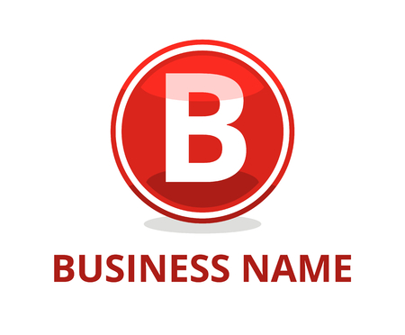 red color glasses circle button web logo graphic design with modern clean style for any professional company with initial type letter b on it Illustration