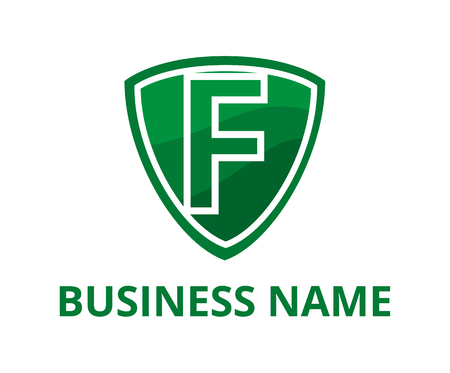 dark green color simple triangle shield logo graphic design with modern clean style for protection or security company with initial type letter f on it
