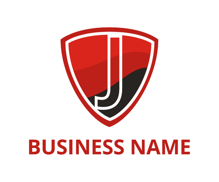 red and black color simple triangle shield logo graphic design with modern clean style for protection or security company with initial type letter j on it