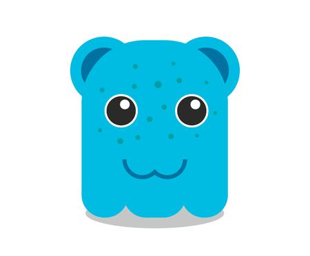 blue cute little monster creature asset game icon character cartoon fun mascot vector design illustration Illustration